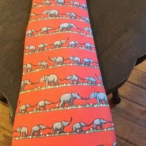 Hermès Mens Tie Silk Elephants France Coral
